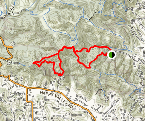 Springhill to Lafayette Ridge to Mariposa to Russel Peak to Buckeye Ranch Trails Map