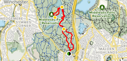 Middle Reservoir and South Reservoir via Red Cross Path and Brooks Road Map