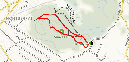 Snake Hill via Red Trail and White Trail Loop Map