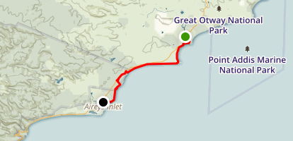 Anglesea to Aireys Inlet Map