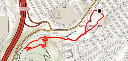 San Bruno Park to Junipero Serra Park Map