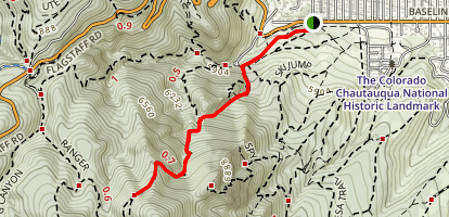 Baseline to Ampitheatre and Saddle Rock Trails Map