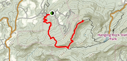 Torys Den Falls to Moore's Knob Map