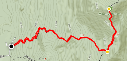 Mount Abraham via Battell and Long Trail Map