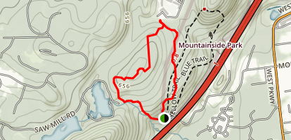 Mountainside Park Red Trail to Yellow Trail Loop Map