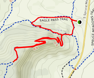 Eagle Pass, Oak Shortcut and Spruce Mountain Trail Short Loop Map