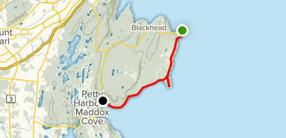 Maddox Cove to Cape Spear Map
