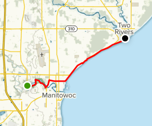 Manitowoc to Two Rivers via Mariners Trail Map