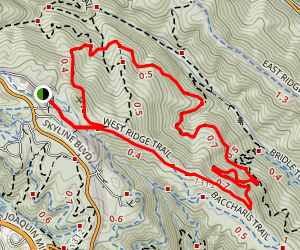 West Ridge, Chown, French, and Redwood Peak Trail Loop Map