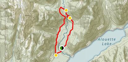 Upper Falls via East Canyon Trail and West Canyon Trail Loop Map