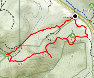 Saratoga Gap to Castle Rock Falls Overlook and Castle Rock Trail Map