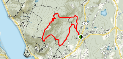 Bull Hill via Blue, Nelsonville, Washburn, Undercliff and Red Trail Loop Map