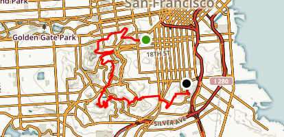 San Francisco Central Hill Hop Map