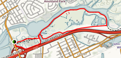 John Heinz National Wildlife Refuge Loop from Wanamaker Avenue Trailhead Map