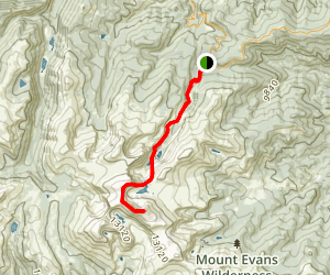 Mount Evans West Ridge via Chicago Creek Map