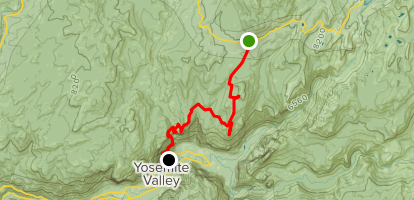 Porcupine Creek to Indian Rock, North Dome, and Columbia Rock via Tioga Pass Road Map
