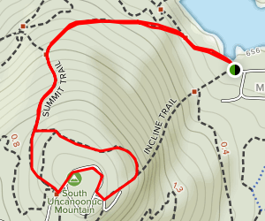 South Uncanoonuc via Summit Trail and Walker Trail  Map