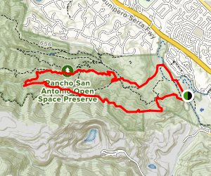 Lower Meadow, High Meadow, Upper Wildcat and PG&E Trail Loop Map