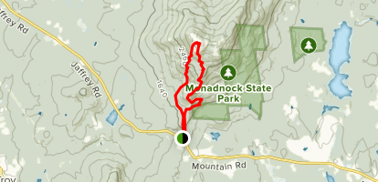 Monadnock Mountain via Cliff Walk and Halfway House Loop Map