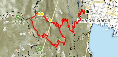 Via Ferrata dell'Amicizia to Cima Sat via 404 and 402 Trails Map