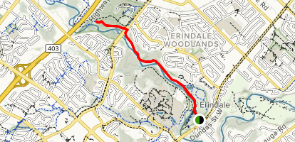 Culham Trail: Erindale Park to Highway 403 Map