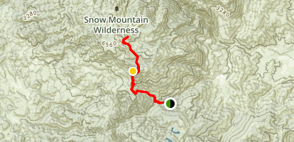 Snow Mountain from Deafy Glade Trailhead Map
