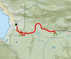 East Inlet Trail to East Meadow Camp Map