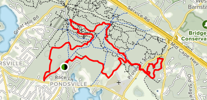 West Barnstable Conservation Area MTB Loop from Crooked Cartway Map