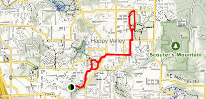 Southern Lites Park to Happy Valley Park Map