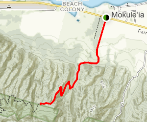 Peacock Flats via Mokuleia Access Road Map