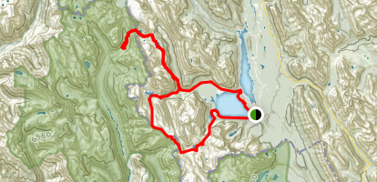 Upper Kananaskis Lake to Turbine Canyon Trail Long Loop Map