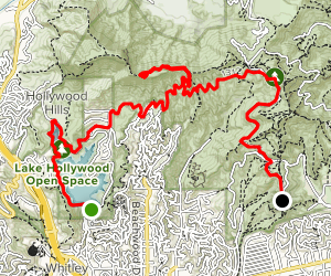 Hollywood Reservoir to Griffith Observatory via the  Hollywood Sign Map