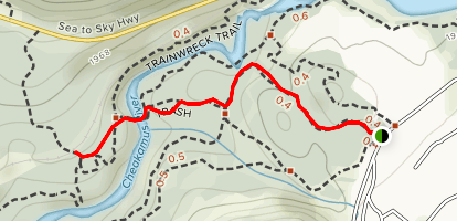 Whistler Train Wreck via Sea to Sky and Train Wreck Trails Map