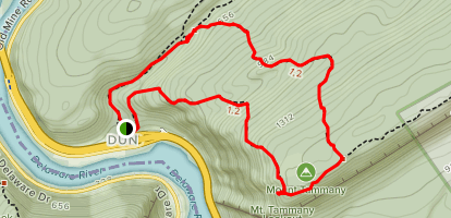Mount Tammany: Red Dot and Blue Dot Loop Trail Map