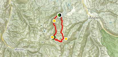Maroon Snowmass Trail to Willow Lake Trail to East Maroon Trail Loop Map