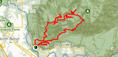 Old Mount Si Trail to Teneriffe Trail to Kamikaze Trail Loop Map