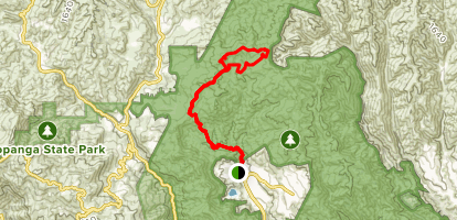 Santa Ynez Trail to Eagle Springs Fire Road to East Topanga Fire Road Loop Map
