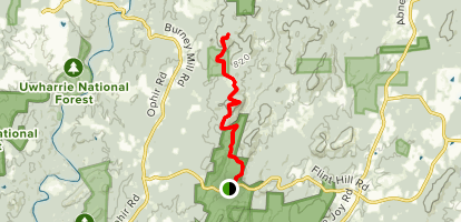 Uwharrie Trail from Jumping off Rock Map