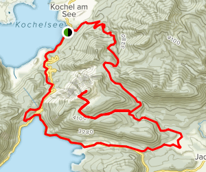 Kochelsee Lake, Jochberg, and Walchensee Lake Loop Map