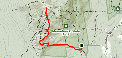 Mount Monadnock via Parker Trail and Cliff Walk Map