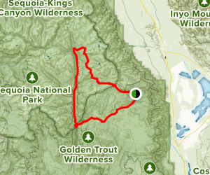 Horseshoe Meadows, Pacific Crest Trail, High Sierra Trail, Golden Trout Loop Map