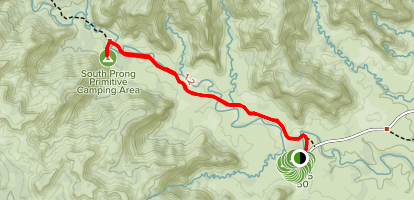 Upper Canyon Trail to South Prong Primitive Camping Area Map