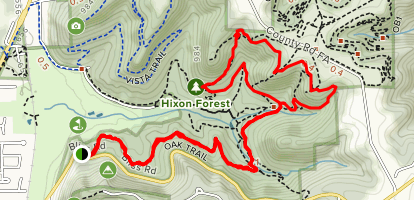 Oak Trail to Hickory Trail to Bicentennial Trail Loop Map