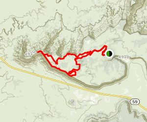 North Rim Trail to Hidden Canyon Trail Loop Map