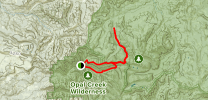 Whetstone and Opal Creek to Bagby Hot Springs Map
