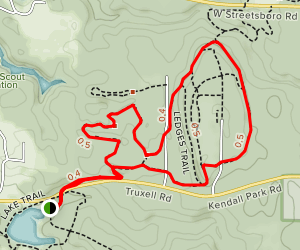 Pine Grove Trail and Ledges Trail Loop from Kendall Lake Map