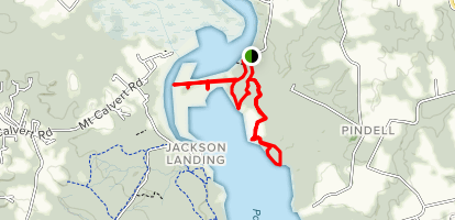 Railroad Bed, Otter Point, Farm, and Pindell Bluff Trails Map