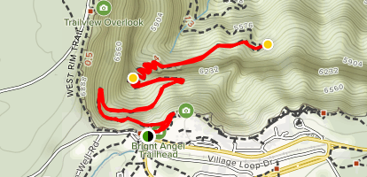 1.5 Mile Resthouse via Bright Angel Trail Map