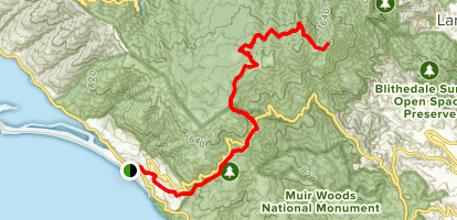Stinson Beach to East Peak via Steep Ravine and Mountain Top Trails Map