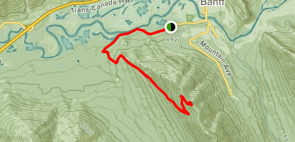 Sulphur Moutain via Cosmic Ray Road - Out and Back Map